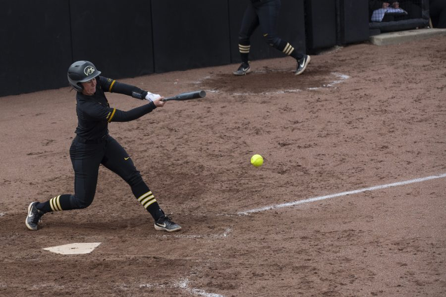 Pitcher%2Futility+Mallory+Kilian+up+to+bat+during+softball+against+Northwestern+on+Bob+Pearl+Field+on+March+30%2C+2019.+The+Wildcats+defeated+the+Hawkeyes+6-2.
