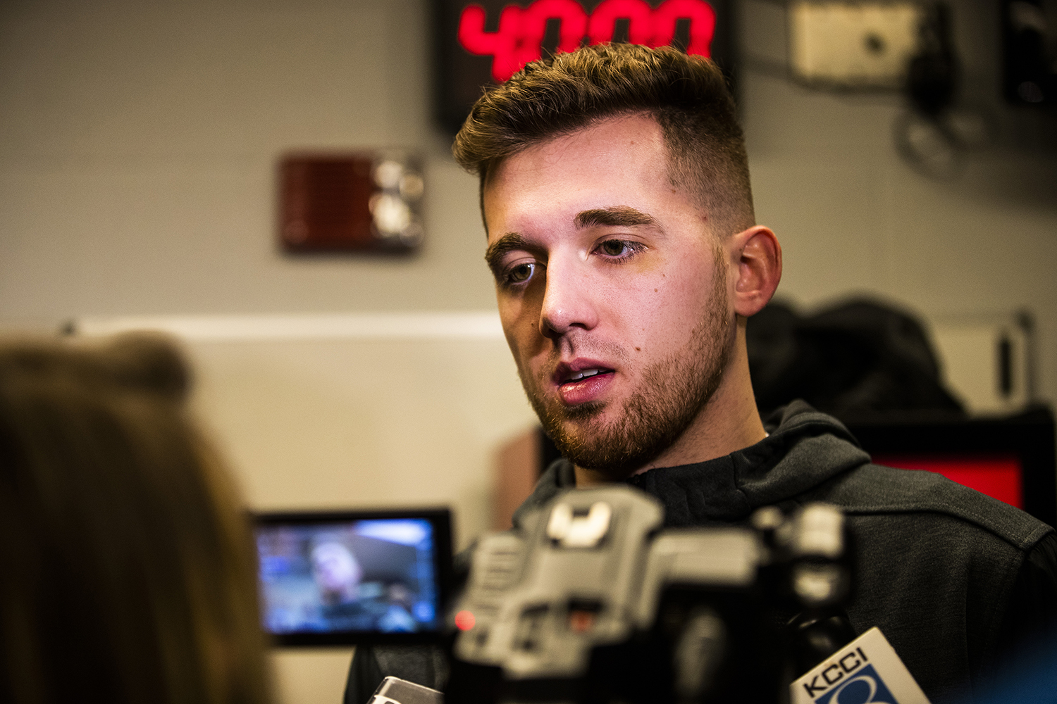Iowa guard Jordan Bohannon speaks to the press during the Iowa press conference at Nationwide Arena in Columbus, Ohio on Thursday, March 21, 2019. The Hawkeyes will compete against the Cincinnati Bearcats tomorrow in the NCAA Tournament.