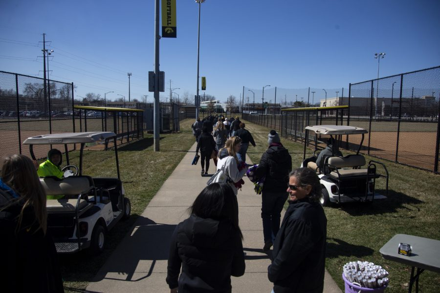 Fans leave Pearl Stadium after a softball game between Iowa and Northwestern on Sunday, March 31, 2019. The Hawkeyes lost to the Wildcats 6-0.