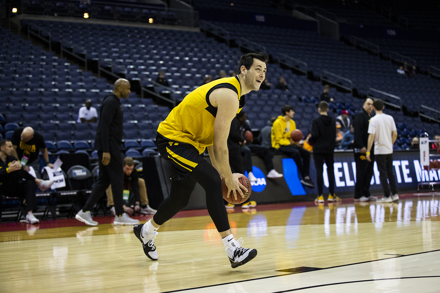 Iowa forward Ryan Kriener dribbles the ball during the Iowa basketball practice at Nationwide Arena in Columbus, Ohio on Thursday, March 21, 2019. The Hawkeyes will compete against the Cincinnati Bearcats tomorrow in the NCAA Tournament.