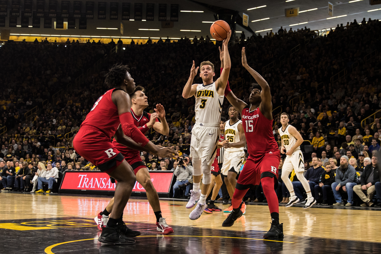 Iowa guard Jordan Bohannon lays the ball up during a men's basketball match between Iowa and Rutgers at Carver-Hawkeye Arena on Saturday, March 2, 2019. The Hawkeyes, celebrating senior night, fell to the Scarlet Knights, 86-72.