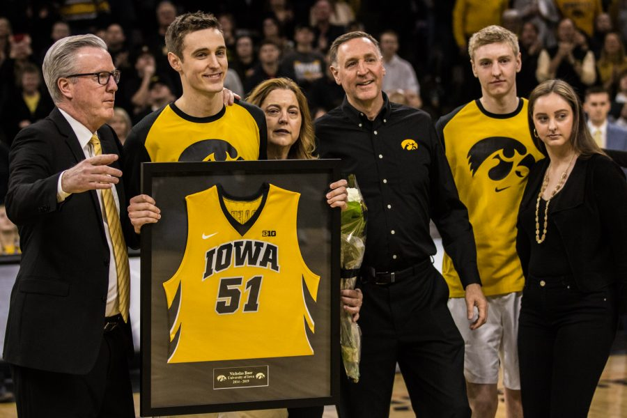 Iowa+senior+Nicholas+Baer+is+honored+before+a+men%27s+basketball+match+between+Iowa+and+Rutgers+at+Carver-Hawkeye+Arena+on+Saturday%2C+March+2%2C+2019.+The+Hawkeyes%2C+celebrating+senior+night%2C+fell+to+the+Scarlet+Knights%2C+86-72.