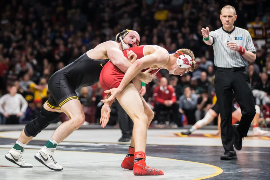 Iowa%27s+165-lb+Alex+Marinelli+wrestles+Wisconsin%27s+Evan+Wick+during+the+second+session+of+the+2019+Big+Ten+Wrestling+Championships+in+Minneapolis%2C+MN+on+Saturday%2C+March+9%2C+2019.+Marinelli+won+by+decision%2C+2-1.