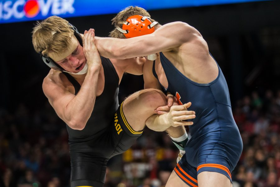 Iowa's 141-lb Max Murin wrestles Illinois' Michael Carr during the third session of the 2019 Big Ten Wrestling Championships in Minneapolis, MN on Sunday, March 10, 2019. Murin won by decision, 3-1.
