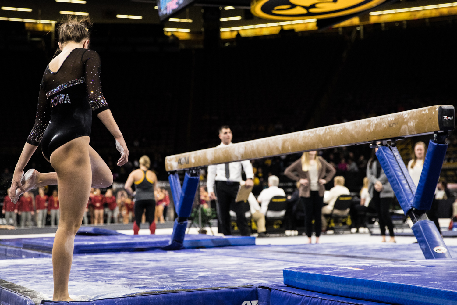 Iowa%27s+Bridget+Killian+prepares+to+compete+on+beam+during+a+women%27s+gymnastics+meet+between+Iowa+and+Iowa+State+at+Carver-Hawkeye+Arena+on+Friday%2C+March+1%2C+2019.+The+Hawkeyes%2C+celebrating+senior+night%2C+fell+to+the+Cyclones%2C+196.275-196.250.