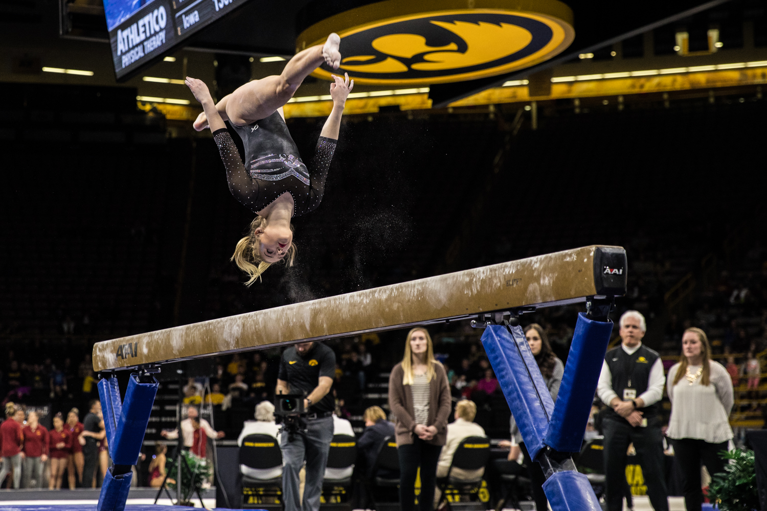 Iowa%27s+Charlotte+Sullivan+competes+on+beam+during+a+women%27s+gymnastics+meet+between+Iowa+and+Iowa+State+at+Carver-Hawkeye+Arena+on+Friday%2C+March+1%2C+2019.+Sullivan+scored+9.750+in+the+event.+The+Hawkeyes%2C+celebrating+senior+night%2C+fell+to+the+Cyclones%2C+196.275-196.250.