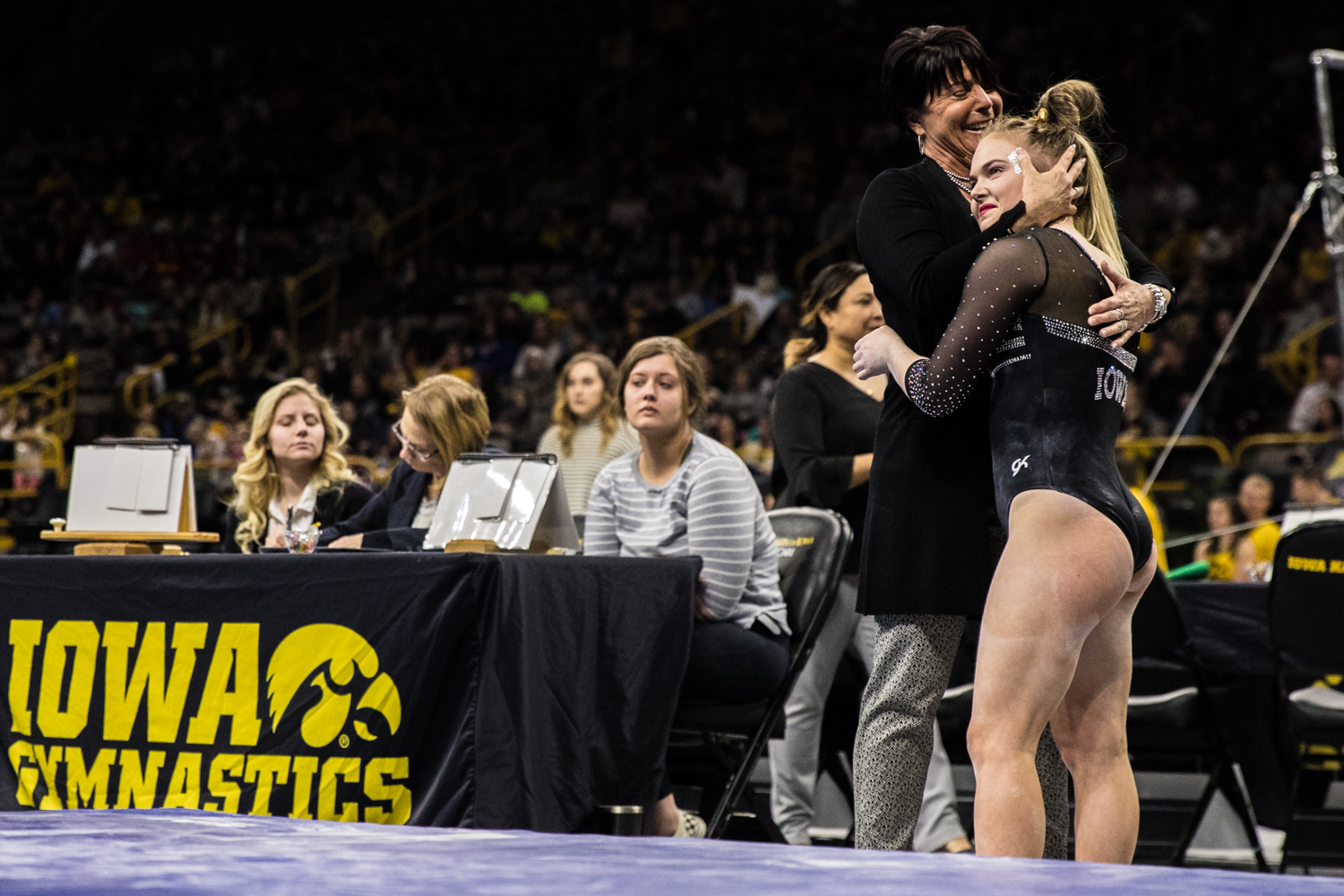 Iowa+assistant+coach++Jennifer+Green+embraces+Charlotte+Sullivan+during+a+women%27s+gymnastics+meet+between+Iowa+and+Iowa+State+at+Carver-Hawkeye+Arena+on+Friday%2C+March+1%2C+2019.+The+Hawkeyes%2C+celebrating+senior+night%2C+fell+to+the+Cyclones%2C+196.275-196.250.+