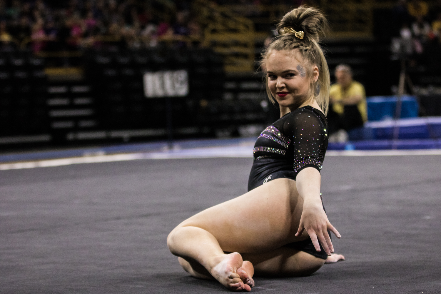 Iowa%27s+Charlotte+Sullivan+competes+on+floor+during+a+women%27s+gymnastics+meet+between+Iowa+and+Iowa+State+at+Carver-Hawkeye+Arena+on+Friday%2C+March+1%2C+2019.+Sullivan+scored+9.800+in+the+event.+The+Hawkeyes%2C+celebrating+senior+night%2C+fell+to+the+Cyclones%2C+196.275-196.250.