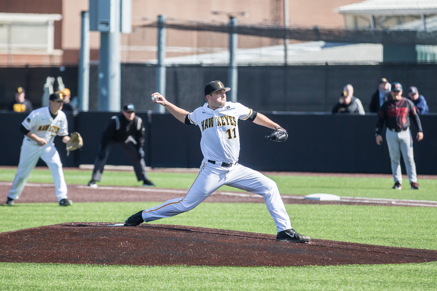 Iowa pitcher Cole McDonald throw a pitch during a baseball game between Iowa and Cal-State Northridge at Duane Banks Field on Saturday, March 16, 2019. The Hawkeyes dropped their home opener to the Matadors, 8-5.