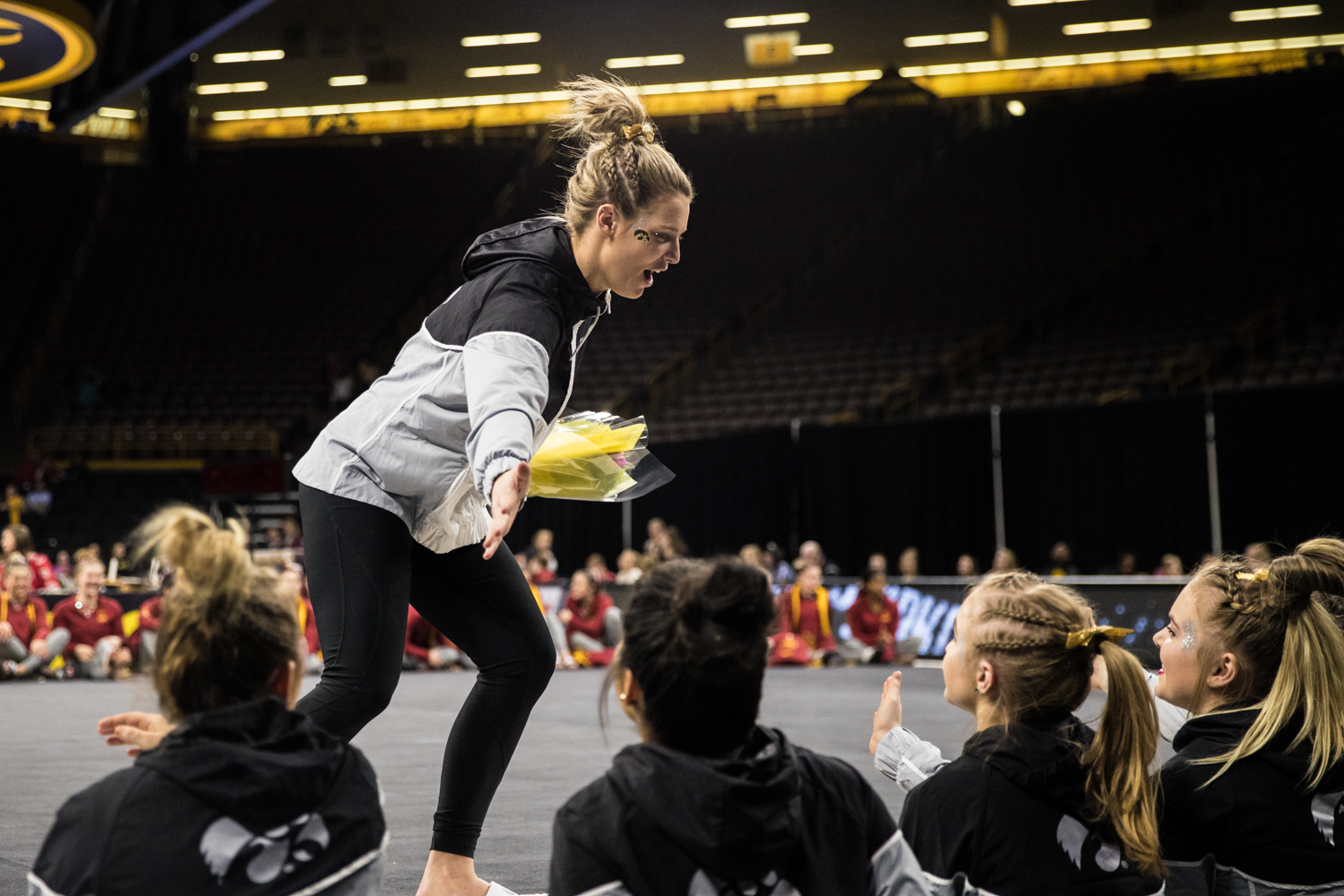 Iowa%27s+Sydney+Hogan+high-fives+her+teammates+after+a+women%27s+gymnastics+meet+between+Iowa+and+Iowa+State+at+Carver-Hawkeye+Arena+on+Friday%2C+March+1%2C+2019.+The+Hawkeyes%2C+celebrating+senior+night%2C+fell+to+the+Cyclones%2C+196.275-196.250.