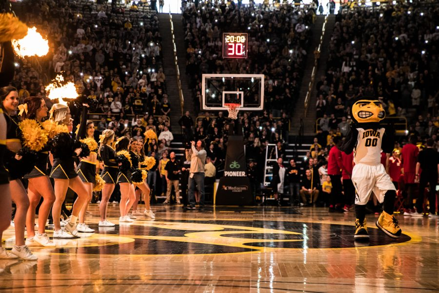 Iowa+spirit+squads+pump+up+the+crowd+before+a+men%27s+basketball+match+between+Iowa+and+Rutgers+at+Carver-Hawkeye+Arena+on+Saturday%2C+March+2%2C+2019.+The+Hawkeyes%2C+celebrating+senior+night%2C+fell+to+the+Scarlet+Knights%2C+86-72.