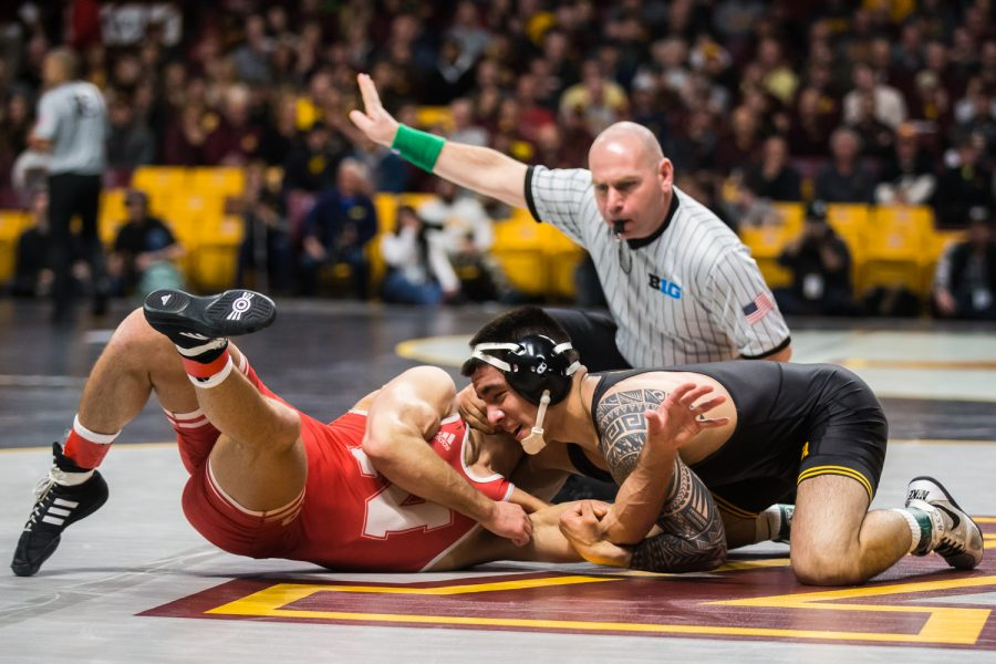 Iowa's 149-lb Pat Lugo wrestles Nebraska's Jordan Shearer during the first session of the 2019 Big Ten Wrestling Championships in Minneapolis, MN on Saturday, March 9, 2019. Lugo defeated Shearer in a decision, 8-5.