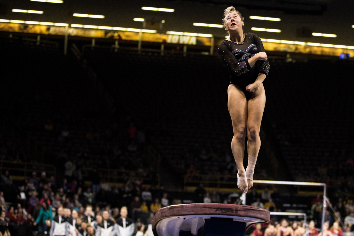 Iowa%27s+Alex+Greenwald+competes+on+vault+during+a+women%27s+gymnastics+meet+between+Iowa+and+Iowa+State+at+Carver-Hawkeye+Arena+on+Friday%2C+March+1%2C+2019.+Greenwald+scored+9.700+in+the+event.+The+Hawkeyes%2C+celebrating+senior+night%2C+fell+to+the+Cyclones%2C+196.275-196.250.