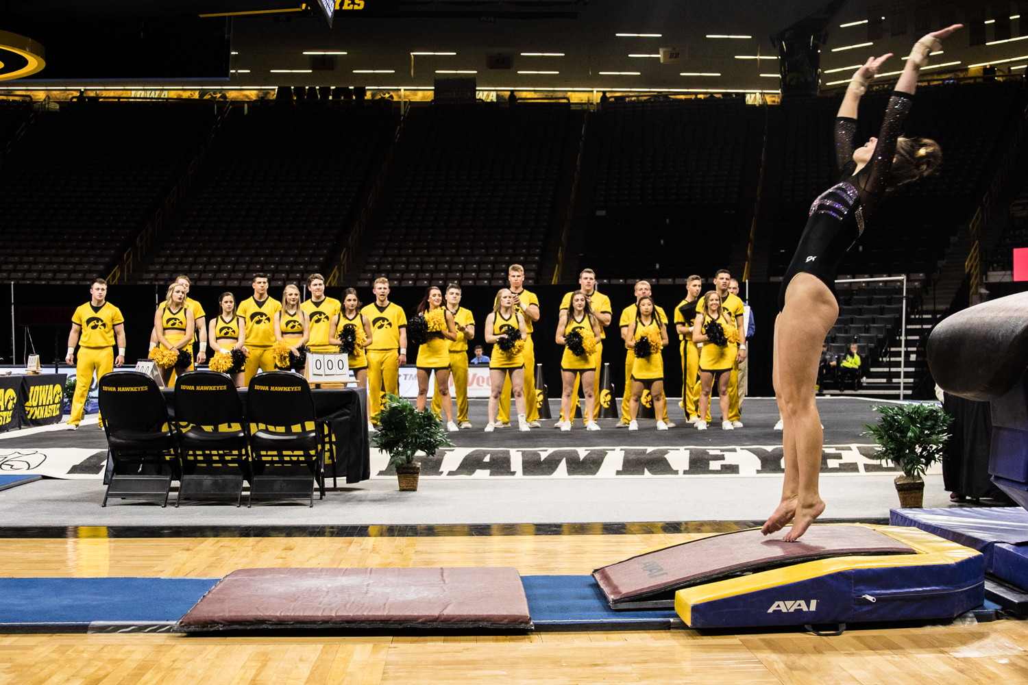 Iowa%27s+Bridget+Killian+competes+on+the+vault+during+a+women%27s+gymnastics+meet+between+Iowa+and+Iowa+State+at+Carver-Hawkeye+Arena+on+Friday%2C+March+1%2C+2019.+Killian+scored+9.825+in+the+event.+The+Hawkeyes%2C+celebrating+senior+night%2C+fell+to+the+Cyclones%2C+196.275-196.250.+