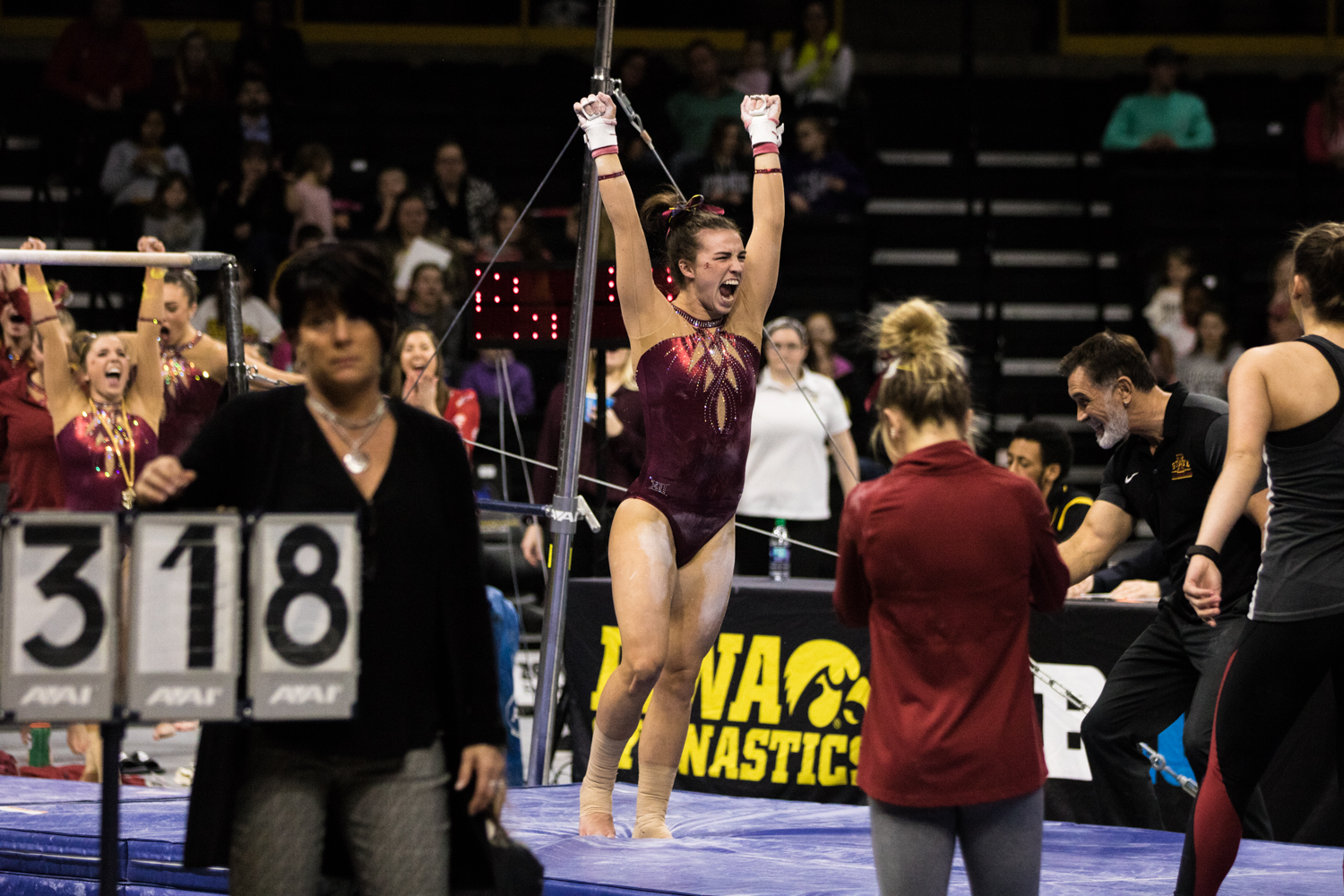 Iowa+State%27s+Meaghan+Sievers+celebrates+during+a+women%27s+gymnastics+meet+between+Iowa+and+Iowa+State+at+Carver-Hawkeye+Arena+on+Friday%2C+March+1%2C+2019.+Sievers+scored+9.875+on+uneven+bars.+The+Hawkeyes%2C+celebrating+senior+night%2C+fell+to+the+Cyclones%2C+196.275-196.250.