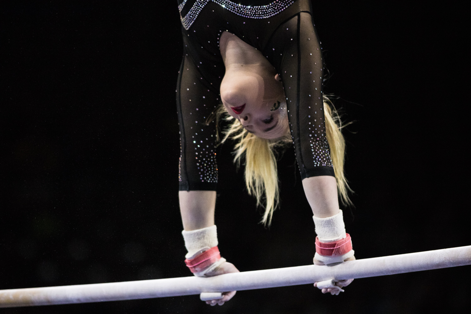 Iowa%27s+Charlotte+Sullivan+competes+on+uneven+bars+during+a+women%27s+gymnastics+meet+between+Iowa+and+Iowa+State+at+Carver-Hawkeye+Arena+on+Friday%2C+March+1%2C+2019.+Sullivan+scored+9.825+in+the+event.+The+Hawkeyes%2C+celebrating+senior+night%2C+fell+to+the+Cyclones%2C+196.275-196.250.+
