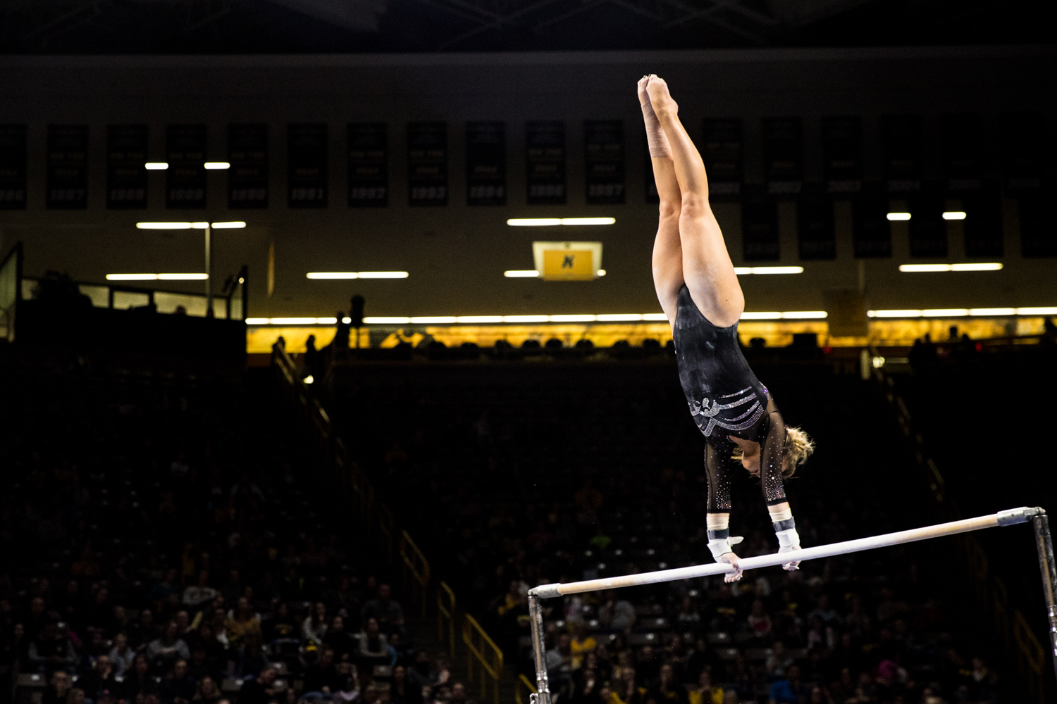 Iowa%27s+Maddie+Kampschroeder+competes+on+uneven+bars+during+a+women%27s+gymnastics+meet+between+Iowa+and+Iowa+State+at+Carver-Hawkeye+Arena+on+Friday%2C+March+1%2C+2019.+Kampschroeder+scored+9.175+in+the+event.+The+Hawkeyes%2C+celebrating+senior+night%2C+fell+to+the+Cyclones%2C+196.275-196.250.