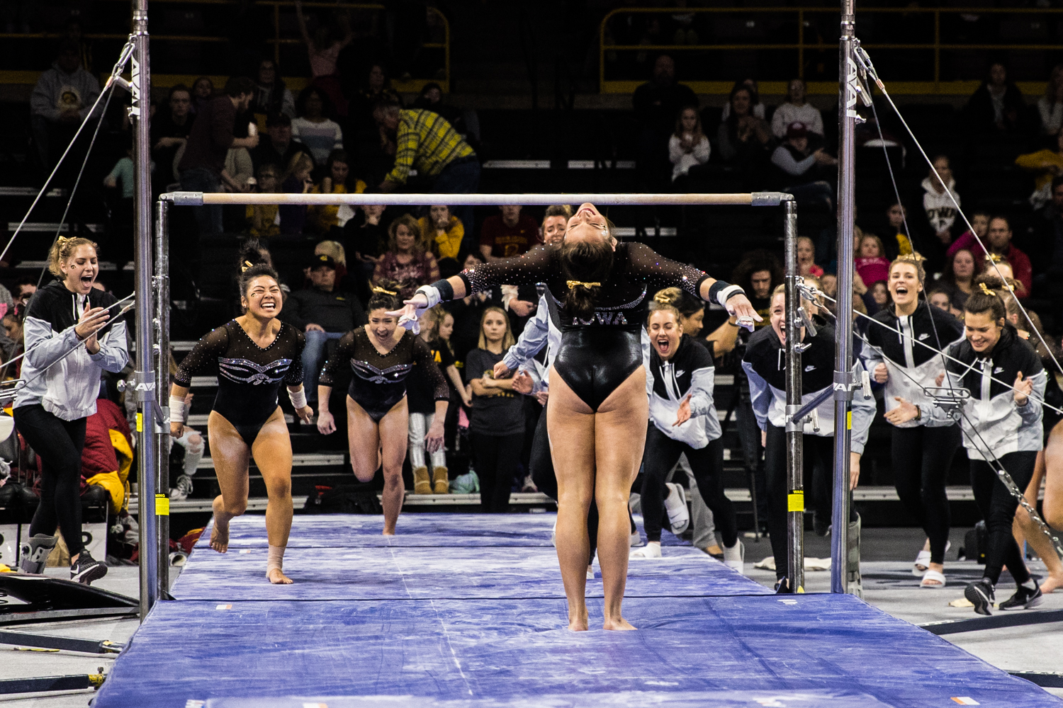 Iowa%27s+Jax+Kranitz+competes+on+uneven+bars+during+a+women%27s+gymnastics+meet+between+Iowa+and+Iowa+State+at+Carver-Hawkeye+Arena+on+Friday%2C+March+1%2C+2019.+Kranitz+scored+9.8+in+the+event.+The+Hawkeyes%2C+celebrating+senior+night%2C+fell+to+the+Cyclones%2C+196.275-196.250.