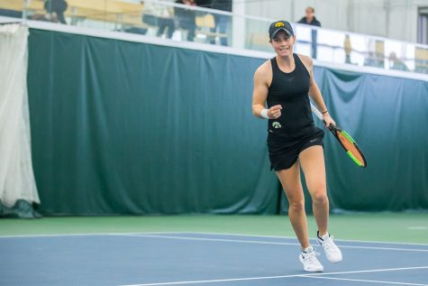 Iowa's Elise Van Heuvelen Treadwell celebrates a point during a women's tennis match between Iowa and Indiana at the HTRC on Sunday, March 31, 2019. The Hawkeyes defeated the Hoosiers, 4-3.  .