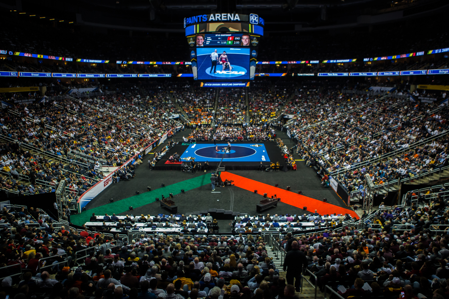Penn+State%27s+157-pound+Jason+Nolf+wrestles+Nebraska%27s+Tyler+Berger+during+the+final+session+of+the+2019+NCAA+D1+Wrestling+Championships+at+PPG+Paints+Arena+in+Pittsburgh%2C+PA+on+Saturday%2C+March+23%2C+2019.+Nolf+won+by+major+decision%2C+10-2%2C+and+earned+first-place+in+the+weight+class.