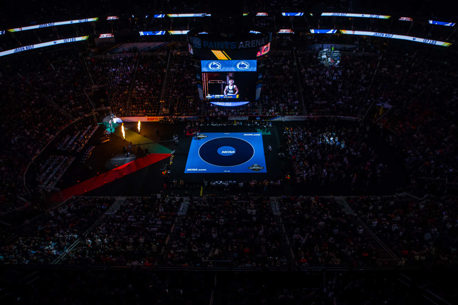 Penn+State%27s+157-pound+Jason+Nolf+runs+onto+the+mat+during+the+final+session+of+the+2019+NCAA+D1+Wrestling+Championships+at+PPG+Paints+Arena+in+Pittsburgh%2C+PA+on+Saturday%2C+March+23%2C+2019.