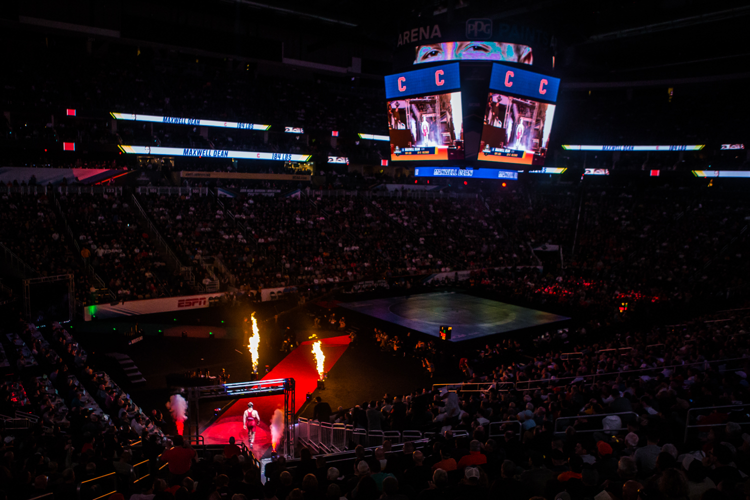 Cornell%27s+184-pound+Maxwell+Dean+walks+onto+the+mat+during+the+final+session+of+the+2019+NCAA+D1+Wrestling+Championships+at+PPG+Paints+Arena+in+Pittsburgh%2C+PA+on+Saturday%2C+March+23%2C+2019.