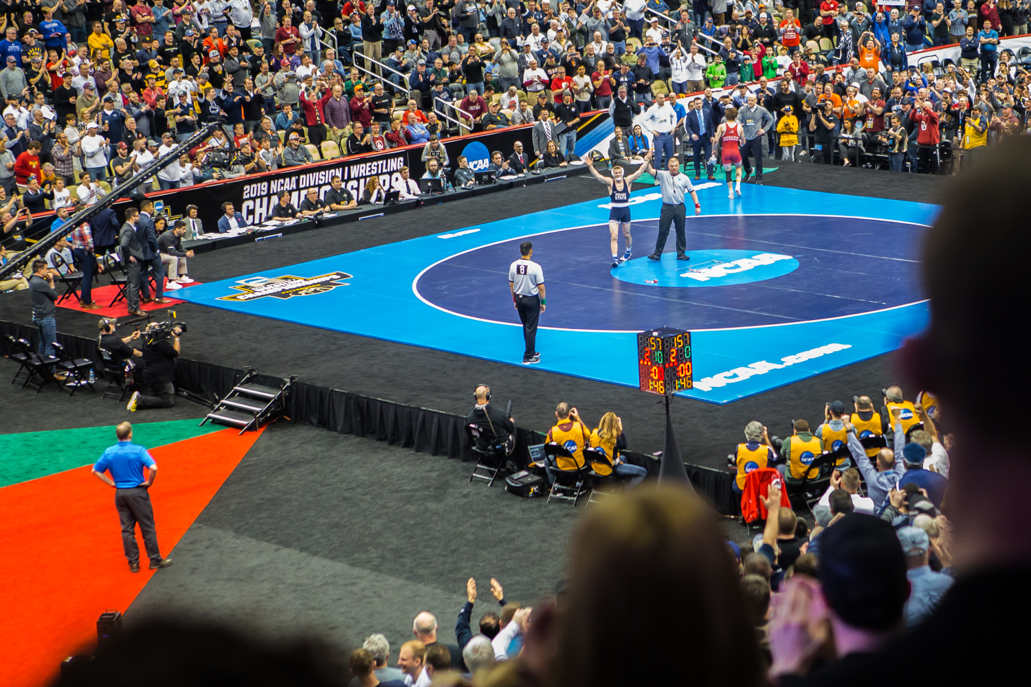 Penn+State%27s+157-pound+Jason+Nolf+defeats+Nebraska%27s+Tyler+Berger+during+the+final+session+of+the+2019+NCAA+D1+Wrestling+Championships+at+PPG+Paints+Arena+in+Pittsburgh%2C+PA+on+Saturday%2C+March+23%2C+2019.+Nolf+won+by+major+decision%2C+10-2%2C+and+earned+first-place+in+the+weight+class.