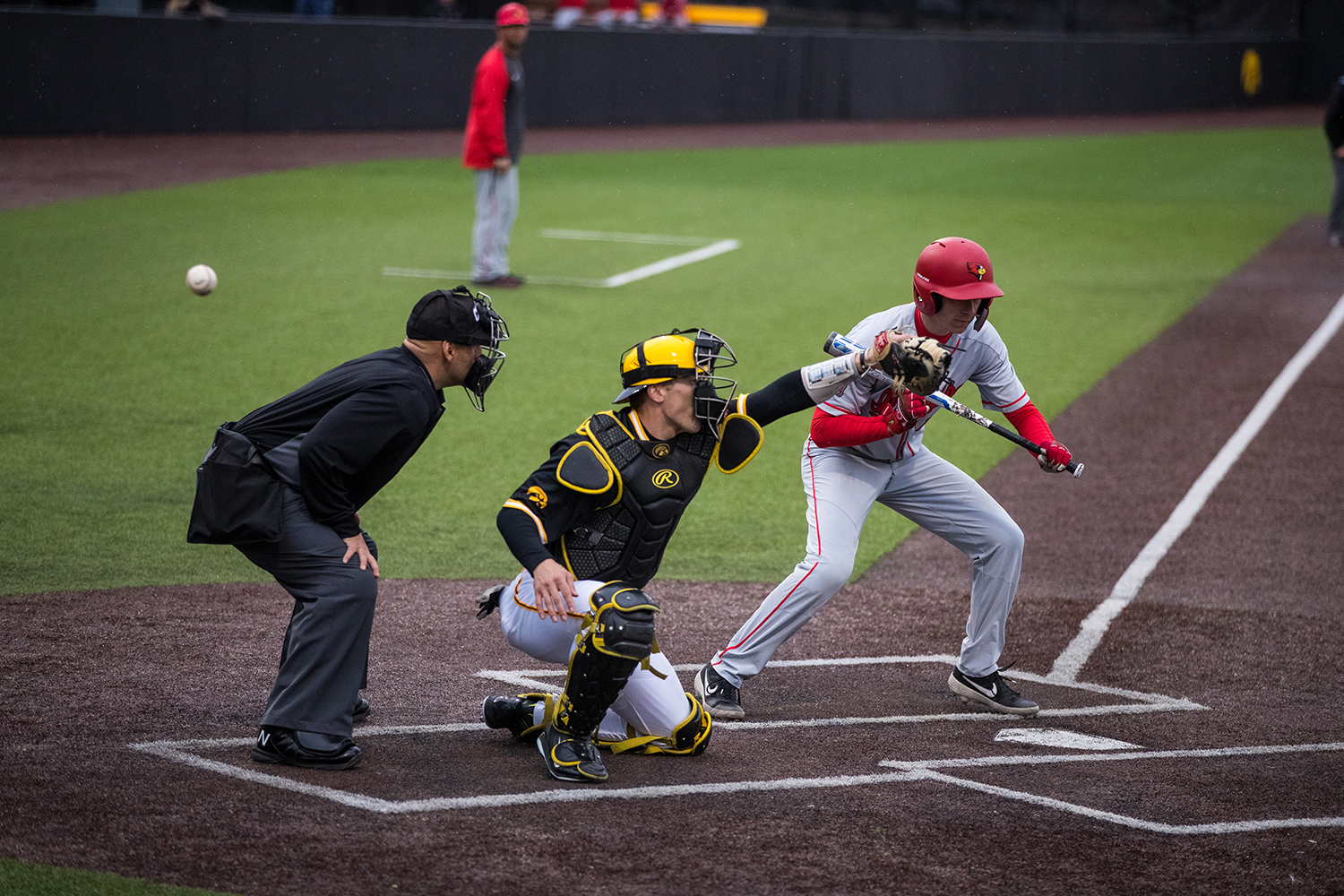 Iowa's Austin Martin misses a pitch during a baseball game against Illinois State on Wednesday, Apr. 3, 2019. The Hawkeyes lost to the Redbirds 11-6. (Roman Slabach/The Daily Iowan)