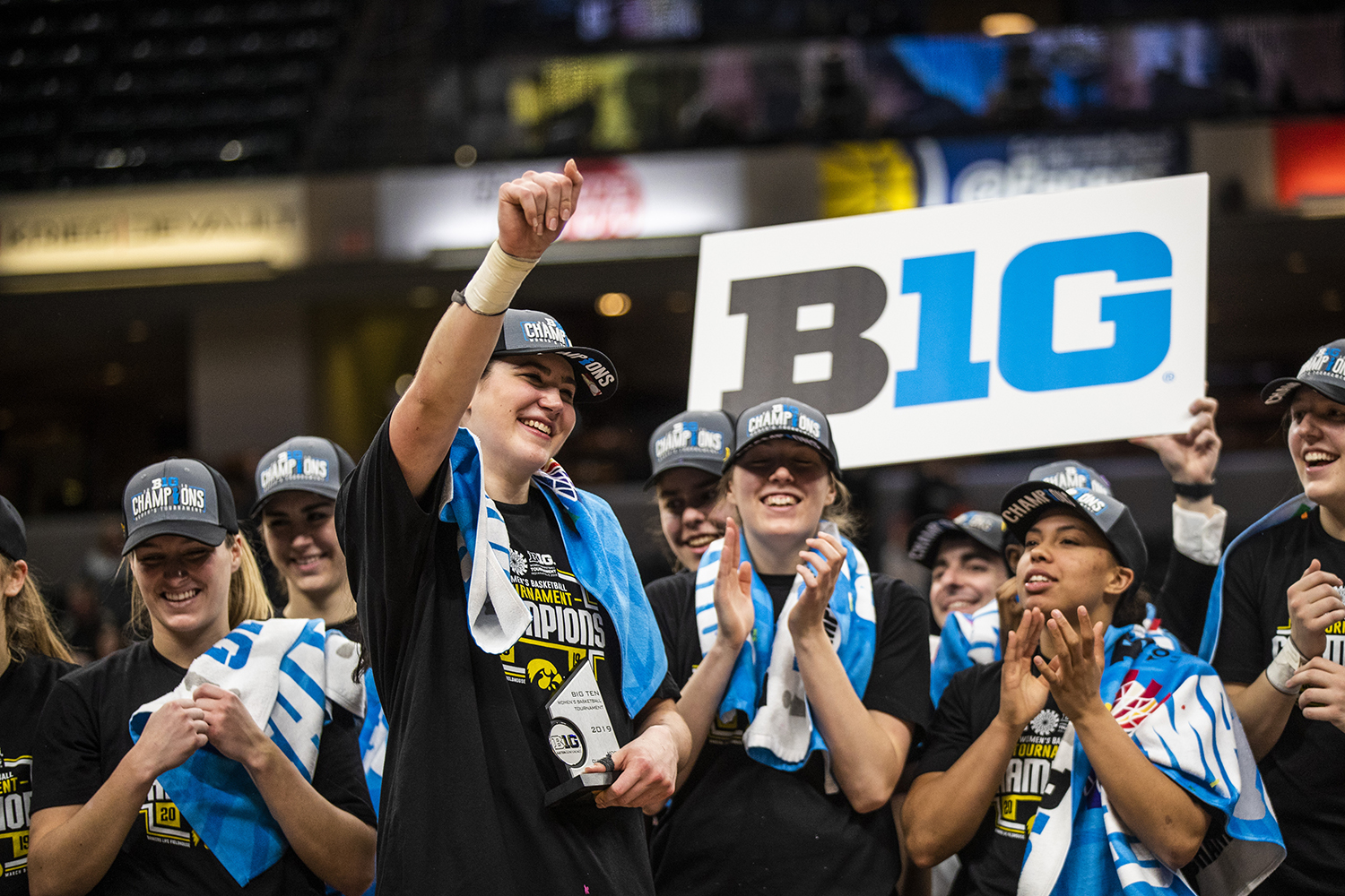 Iowa center Megan Gustafson celebrates after the women's Big Ten Championship basketball game vs. Maryland at Bankers Life Fieldhouse on Sunday, March 10, 2019. The Hawkeyes defeated the Terrapins 90-76 and are the Big Ten champions.