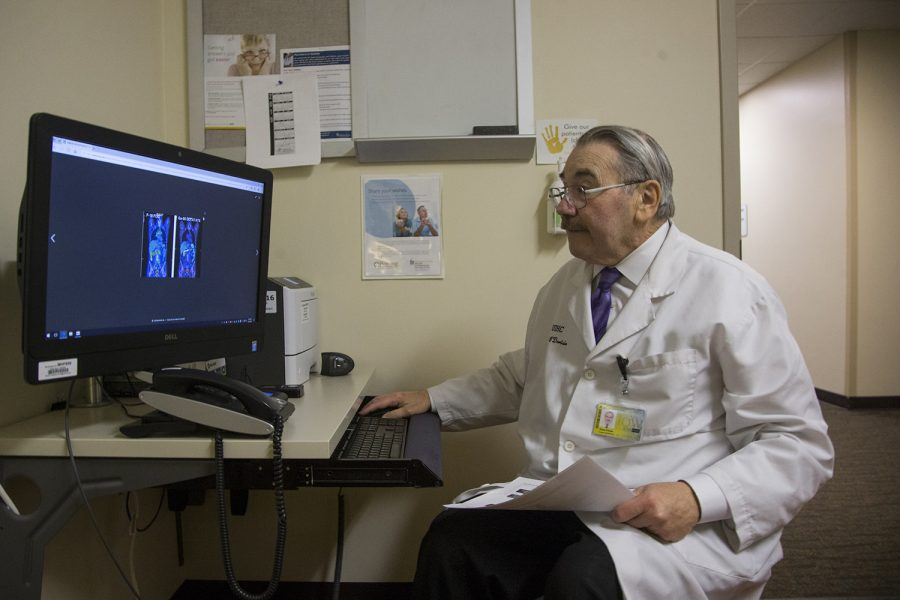 Dr. Tom O'Dorisio of the Holden Comprehensive Cancer Center explains a Gallium 68 PET Scan on April 1, 2019. Dr. O'Dorisio is just one of a team of doctors in the Holden center who have been working with PRRT (Peptide Receptor Radionuclide Therapy), a treatment only done by the center