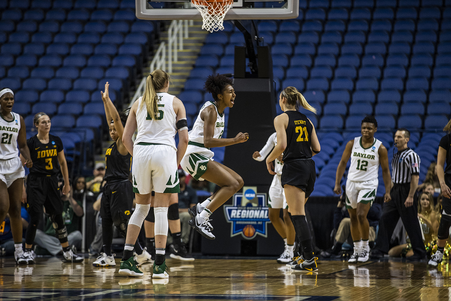 Baylor+guard+Didi+Richards+celebrates+a+basket+during+the+NCAA+Elite+8+game+against+Baylor+at+the+Greensboro+Coliseum+Complex+on+Monday%2C+April+1%2C+2019.+The+Bears+defeated+the+Hawkeyes+85-53.