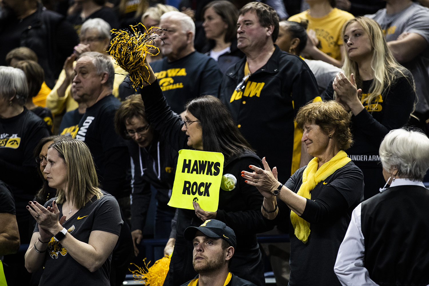 Iowa+center+Megan+Gustafson%27s+family+cheers+on+Megan+as+she+is+subbed+out+of+the+game+during+the+NCAA+Elite+8+game+against+Baylor+at+the+Greensboro+Coliseum+Complex+on+Monday%2C+April+1%2C+2019.+The+Bears+defeated+the+Hawkeyes+85-53.