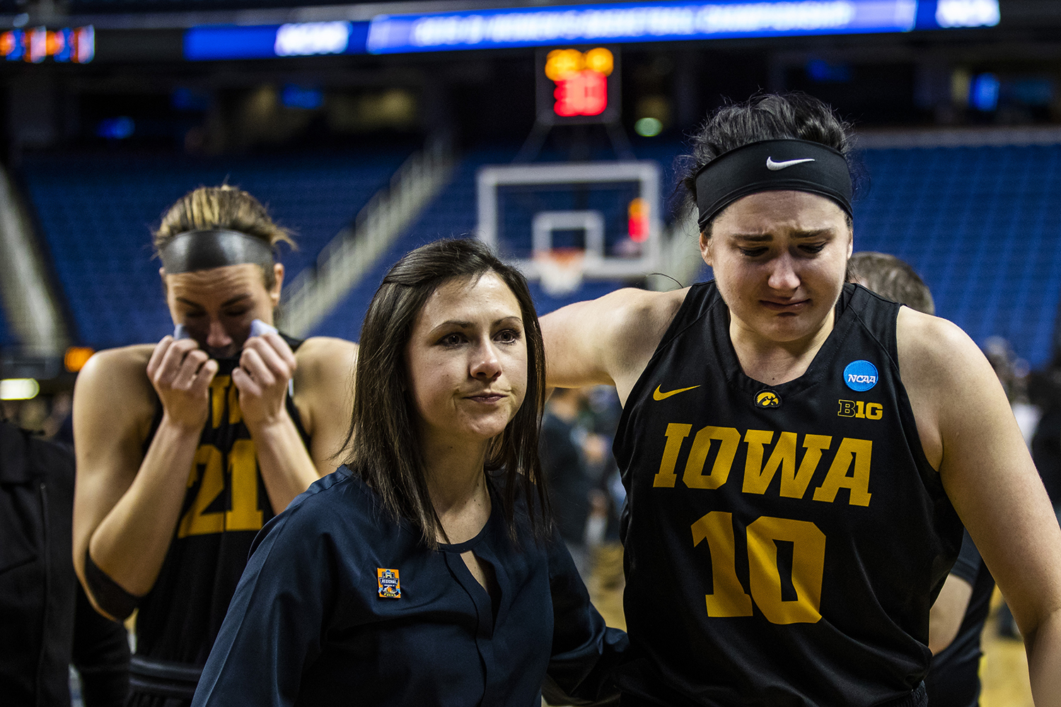 Iowa+center+Megan+Gustafson+%2810%29+and+forward+Hannah+Stewart+%2821%29+get+emotional+following+the+NCAA+Elite+8+game+against+Baylor+at+the+Greensboro+Coliseum+Complex+on+Monday%2C+April+1%2C+2019.+The+Bears+defeated+the+Hawkeyes+85-53.