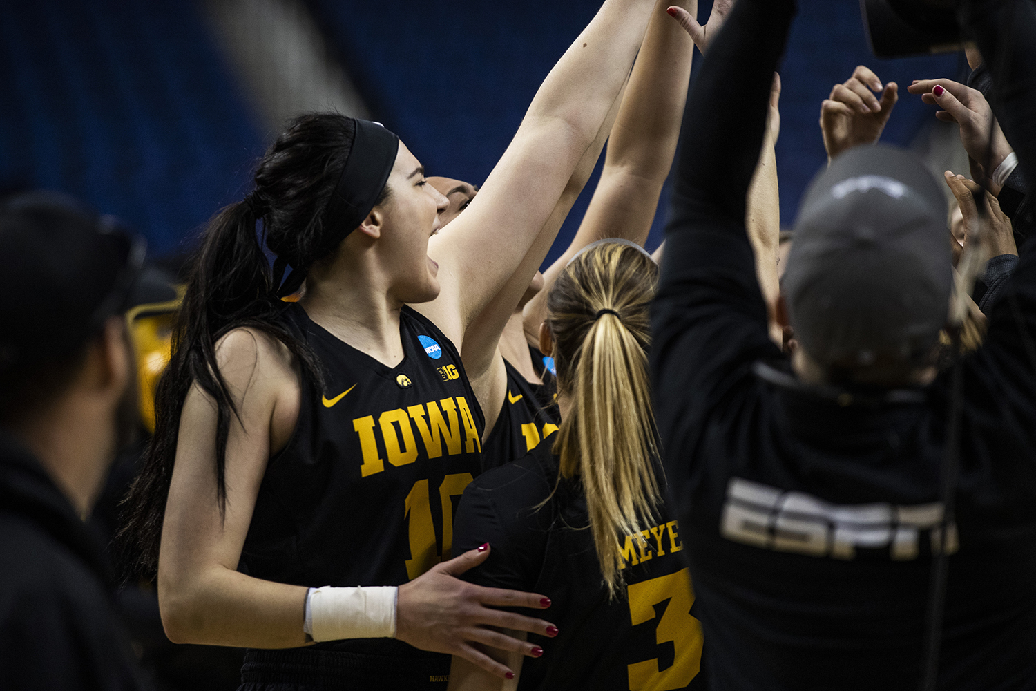 Iowa+players+meet+before+the+NCAA+Elite+8+game+against+Baylor+at+the+Greensboro+Coliseum+Complex+on+Monday%2C+April+1%2C+2019.+The+Bears+defeated+the+Hawkeyes+85-53.