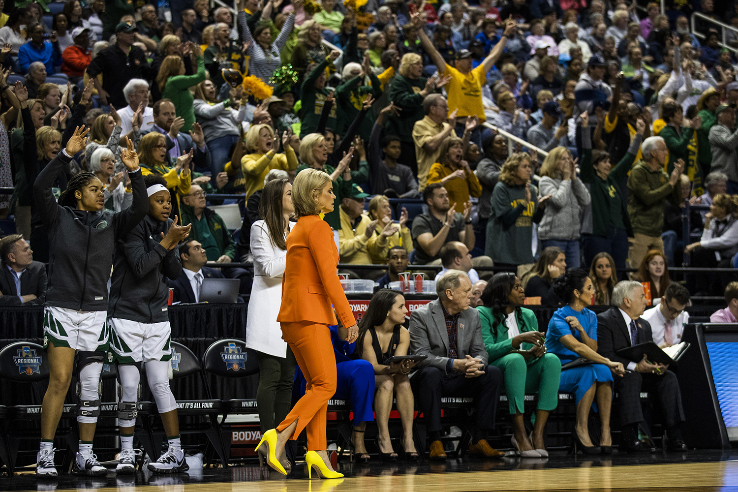 Baylor+fans+cheer+during+the+NCAA+Elite+8+game+against+Baylor+at+the+Greensboro+Coliseum+Complex+on+Monday%2C+April+1%2C+2019.+The+Bears+defeated+the+Hawkeyes+85-53.