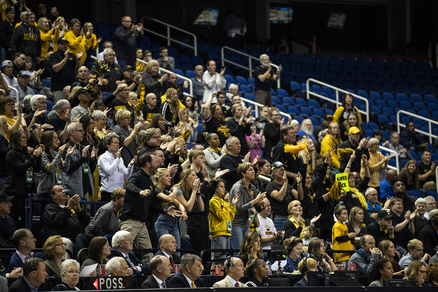 Iowa+fans+cheer+during+the+NCAA+Elite+8+game+against+Baylor+at+the+Greensboro+Coliseum+Complex+on+Monday%2C+April+1%2C+2019.+The+Bears+defeated+the+Hawkeyes+85-53.