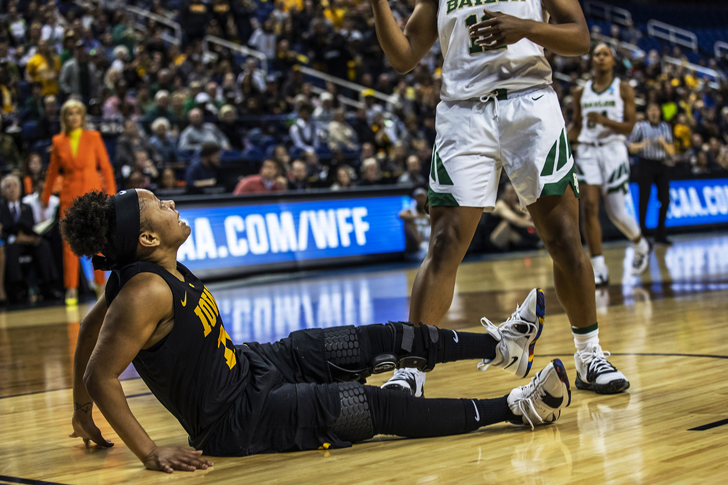 Iowa+guard+Tania+Davis+watches+as+Baylor+steals+away+the+ball+during+the+NCAA+Elite+8+game+against+Baylor+at+the+Greensboro+Coliseum+Complex+on+Monday%2C+April+1%2C+2019.+The+Bears+defeated+the+Hawkeyes+85-53.