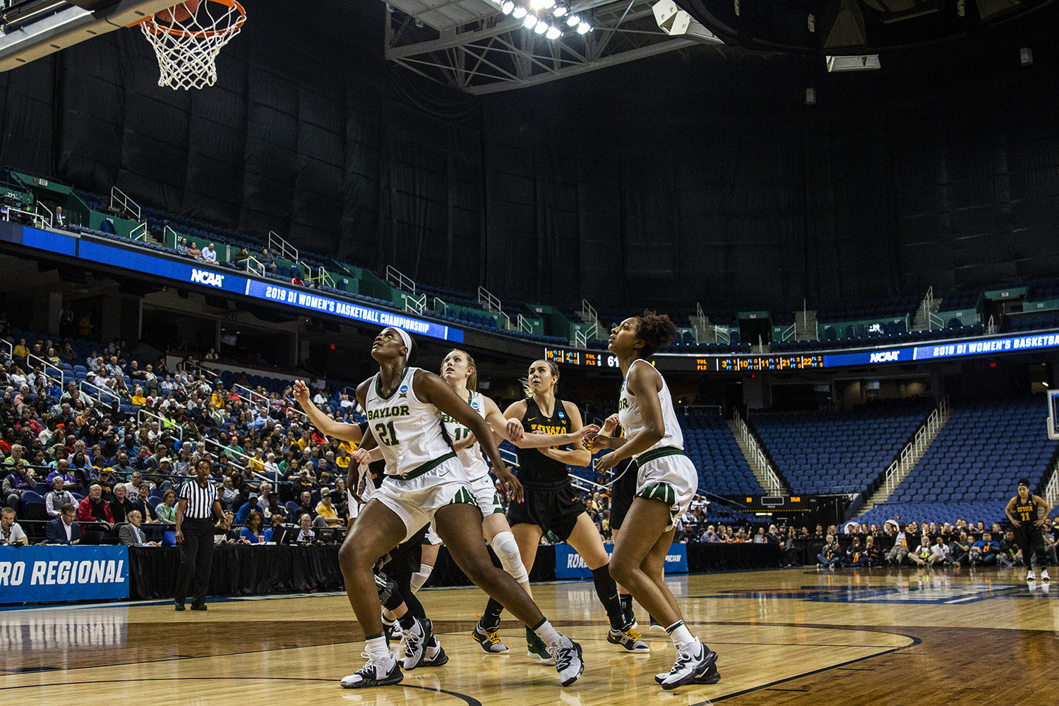 Iowa+and+Baylor+players+prepare+to+rebound+the+ball+after+a+free-throw+during+the+NCAA+Elite+8+game+against+Baylor+at+the+Greensboro+Coliseum+Complex+on+Monday%2C+April+1%2C+2019.+The+Bears+defeated+the+Hawkeyes+85-53.