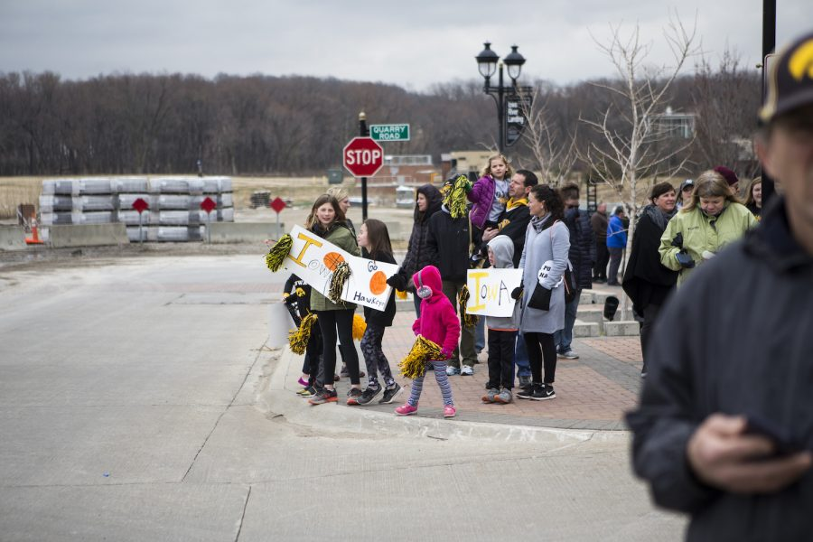 Young fans await arrival of the Iowa womens basketball team from North Carolina on April 2, 2019.