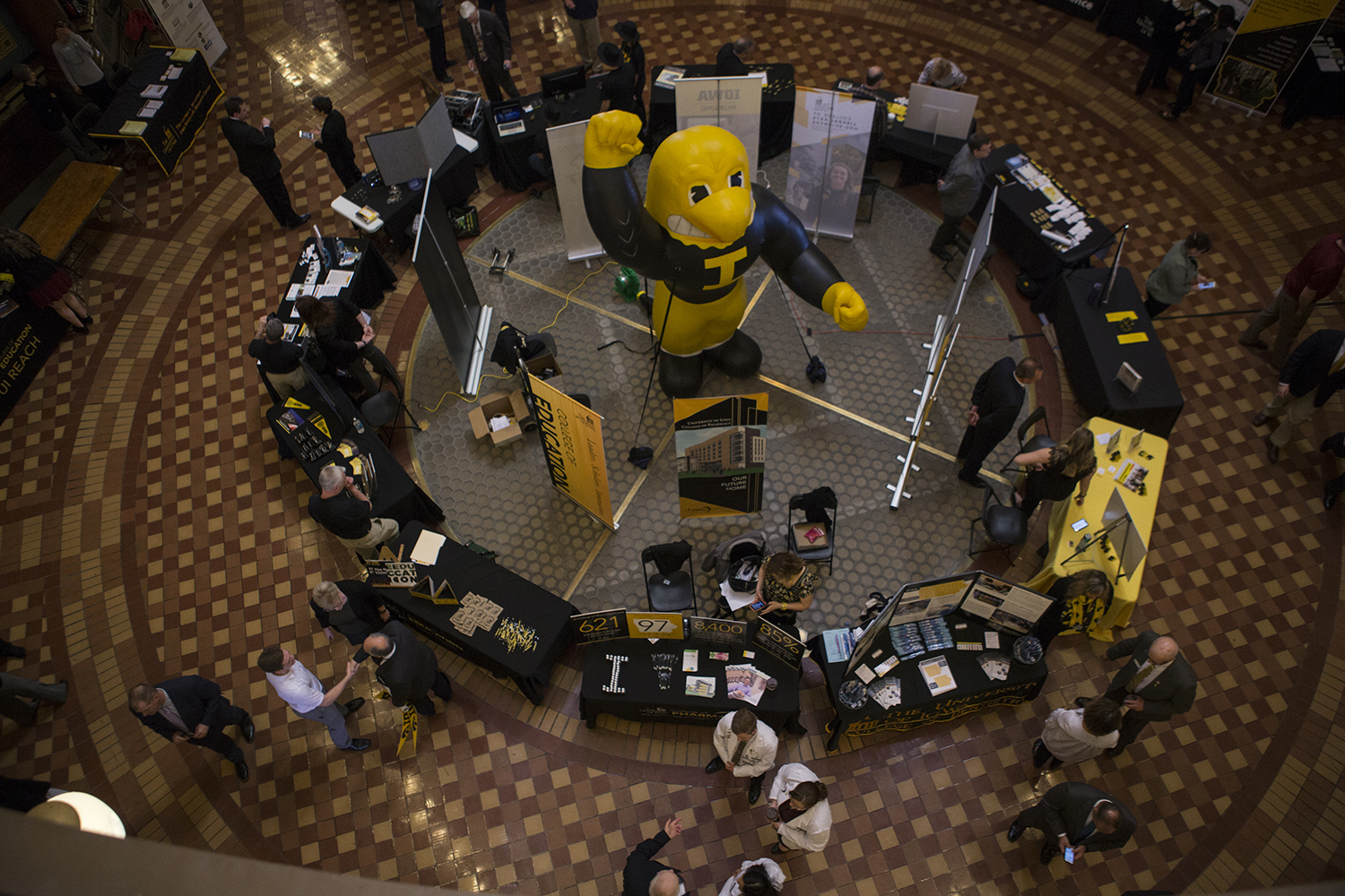An inflatable Herky sits on the ground floor of the state Capitol during Hawkeye Caucus in Des Moines on April 9, 2019. The Hawkeye Caucus provides members of the UI community to come speak with Iowa legislators.