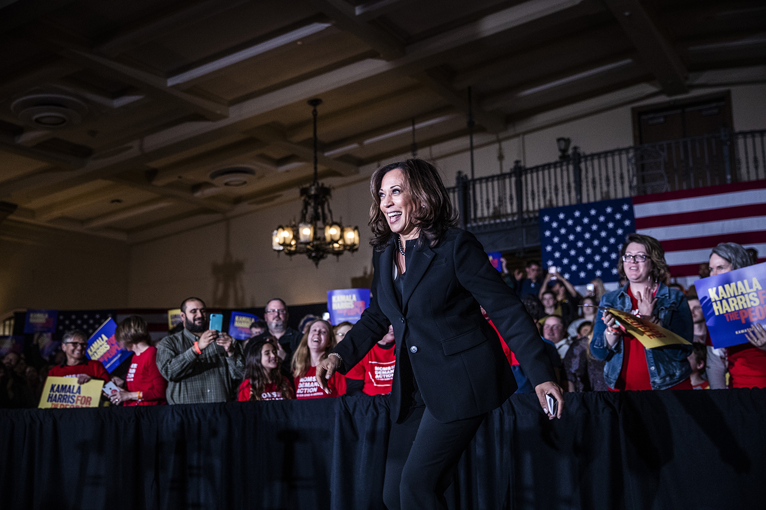 Sen. Kamala Harris, D-Calif. walks on stage during a town hall at the IMU on Wednesday, April 10, 2019. Harris is running for president in the 2020 election.