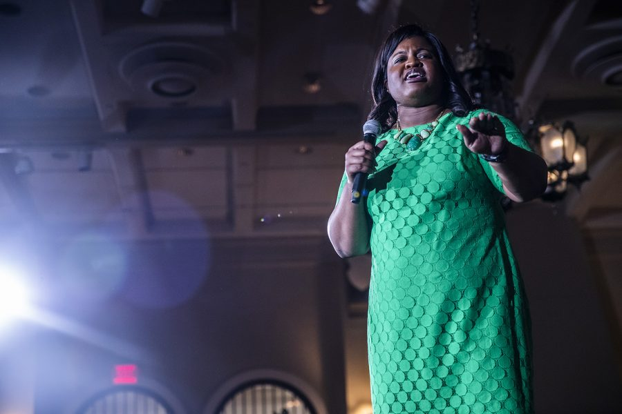 Former secretary of state candidate Deidre DeJear speaks during a town hall event for Sen. Kamala Harris, D-Calif. at the IMU on Wednesday, April 10, 2019. Harris is running for president in the 2020 election.