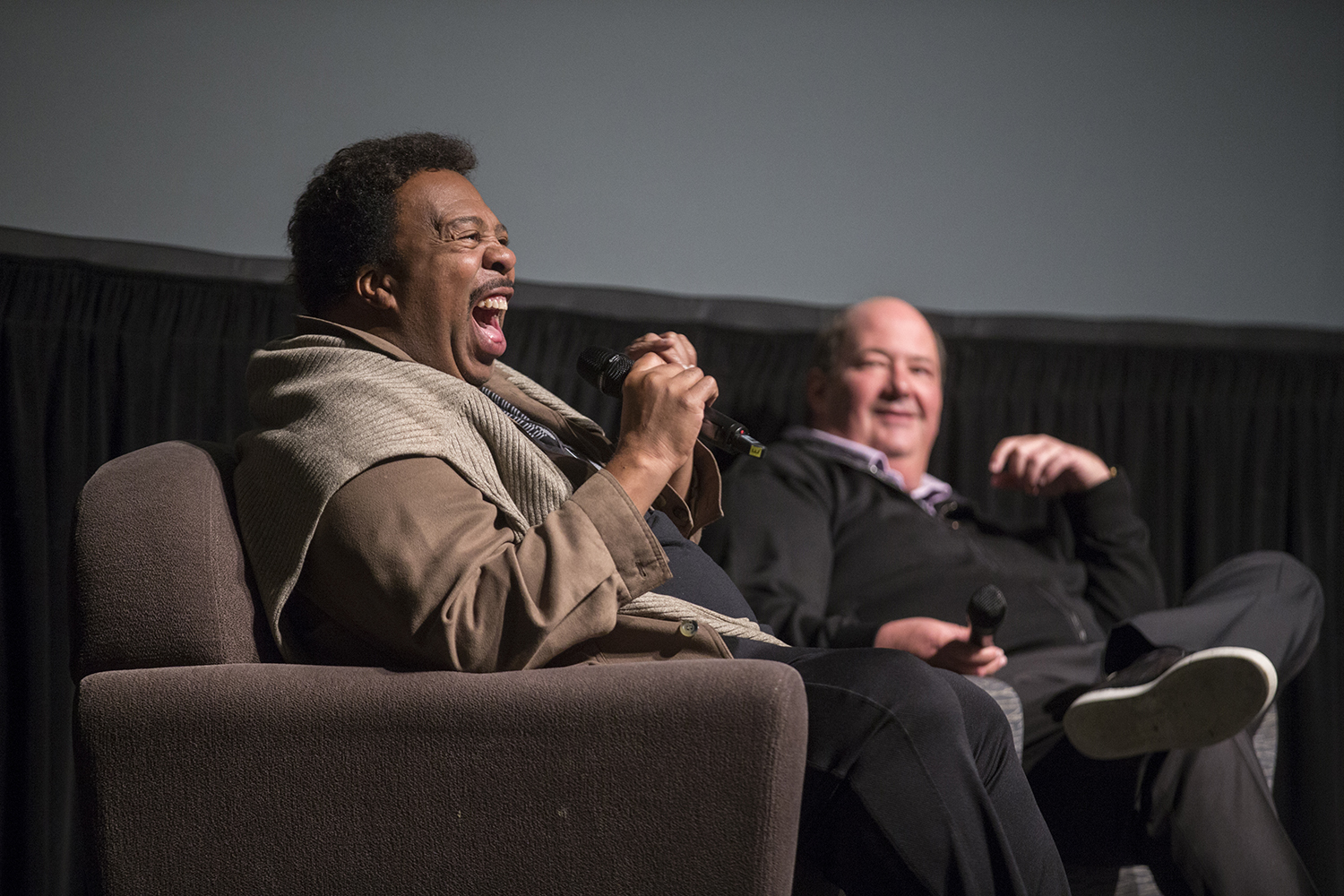 Comedians Leslie David Baker (Stanley) and Brian Baumgarter (Kevin), from