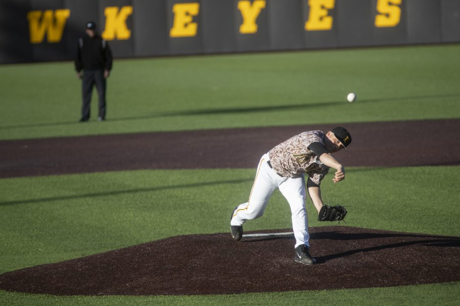 Iowas+Cole+McDonald+pitches+during+a+baseball+game+against+Nebraska+in+Duane+Banks+Field+on+April+19%2C+2019.+The+Hawkeyes+defeated+the+Cornhuskers+3-2.
