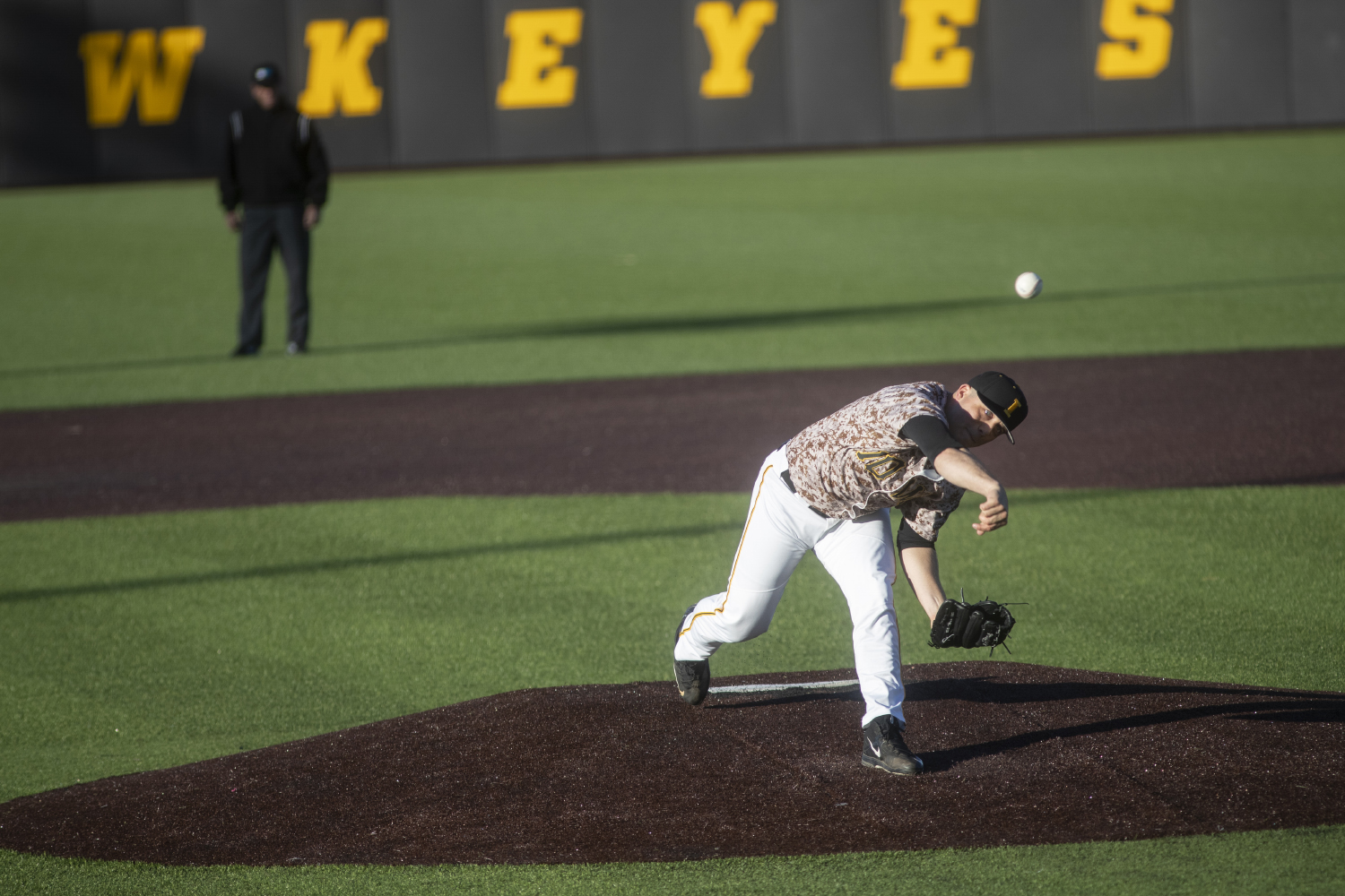 Iowa's Cole McDonald pitches during a baseball game against Nebraska in Duane Banks Field on April 19, 2019. The Hawkeyes defeated the Cornhuskers 3-2.
