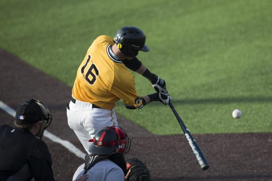 Iowa+shortstop+Tanner+Wetrich+swings+at+a+pitch+against+Northern+Illinois+on+April+16%2C+2019.+The+Hawkeyes+defeated+the+Huskies%2C+8-6.