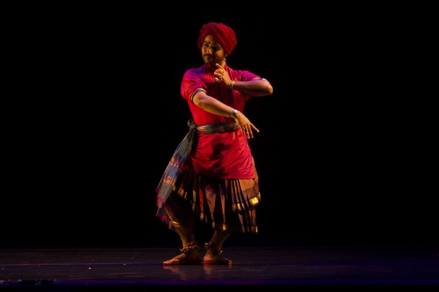 Kuldeep Singh performs his Odissi dance in the Englert on April 26, 2019.