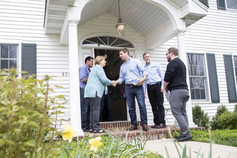 U.S. Rep. Eric Swalwell, D-Calif., shakes hands with Jane Cranston before leaving the house party she helped co-host in North Liberty on Sunday, April 28, 2019. The stop was Swalwell's first visit to Iowa since announcing his candidacy for the Democratic nomination for President.