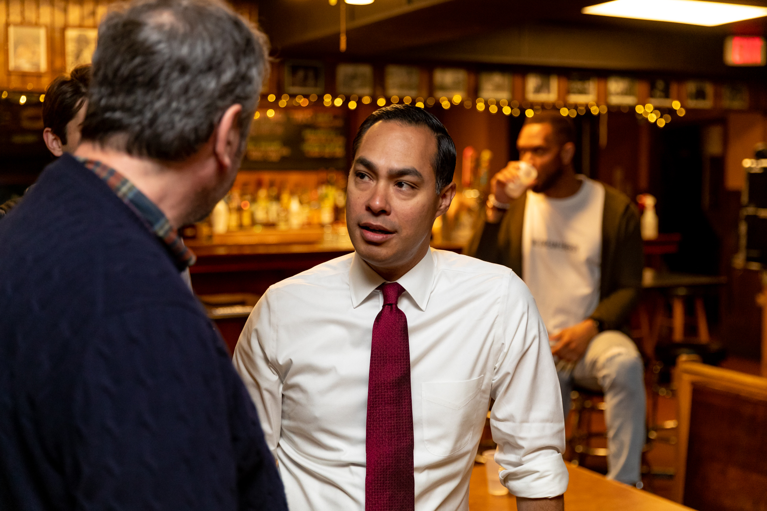 Julian Castro, former Secretary of Housing and Urban Development and current Democratic candidate for president takes questions from an attendee at The Mill before appearing on the Political Party Live podcast on Sunday, Apr. 14, 2019.