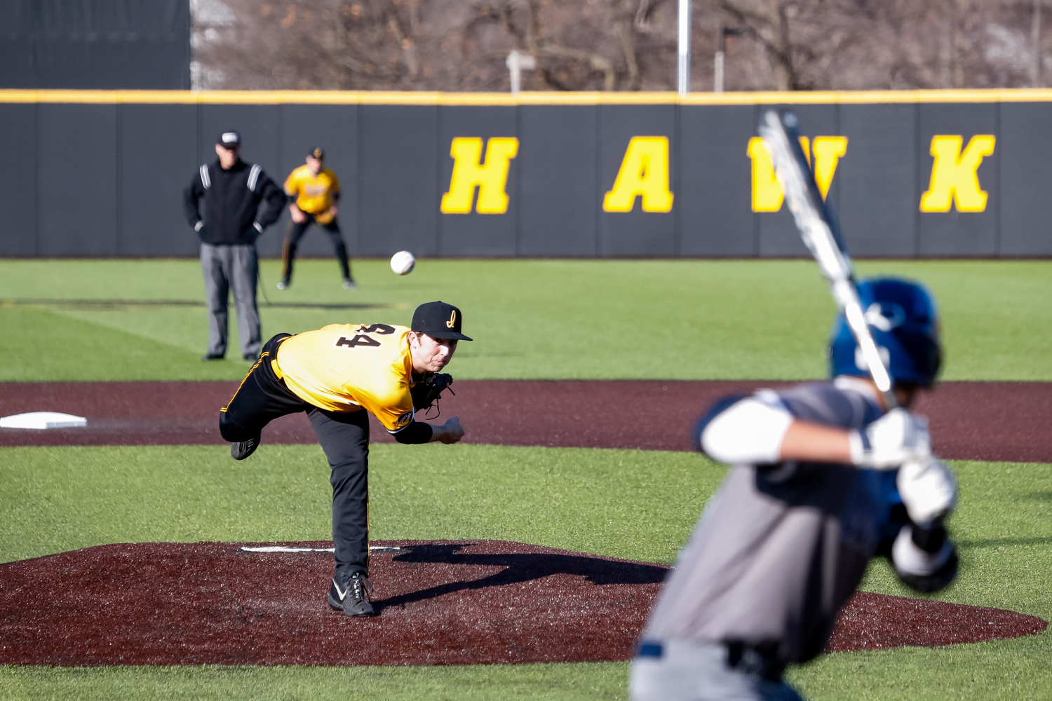 Iowa's Duncan Davitt pitches the ball during a baseball game against Clarke University on Tuesday, Apr. 2, 2019. The Hawkeyes defeated the Pride 3-2.
